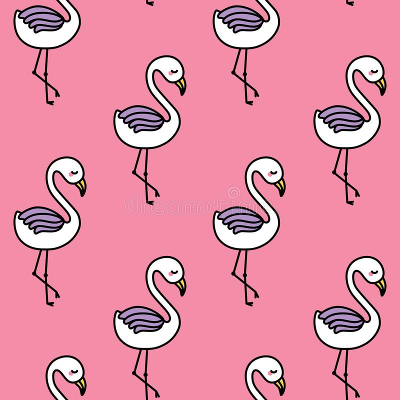Cute flamingo seamless pattern with pink background. Vector stock illustration