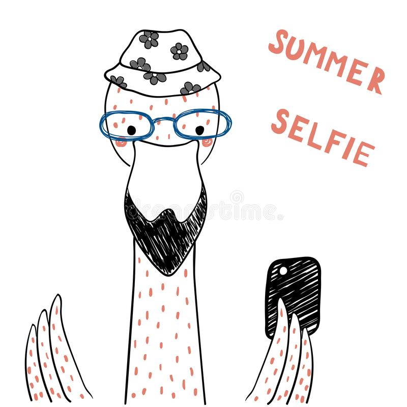 Cute flamingo with a smart phone. Hand drawn portrait of a cute funny flamingo in glasses with a smart phone, taking selfie. Isolated objects on white background stock illustration