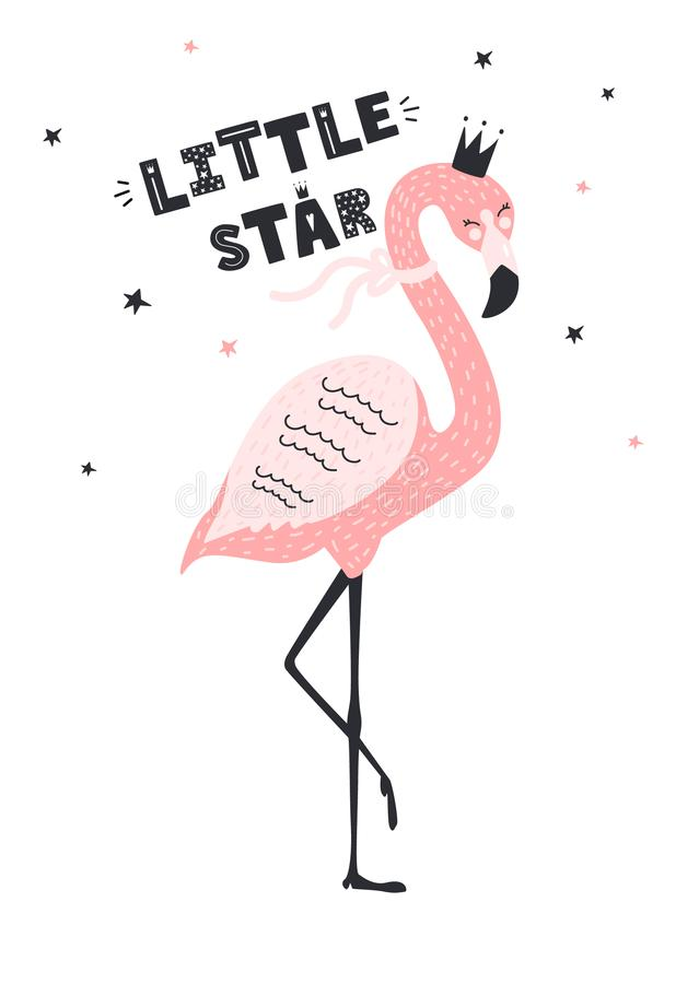 Cute flamingo with text little star. Vector illustration stock illustration