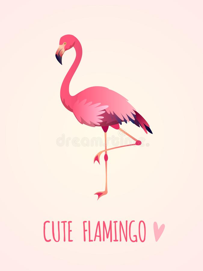Cute flamingo. Tropical pink bird, girl card poster exotic wild nature, party beach beauty sticker isolated cartoon royalty free illustration