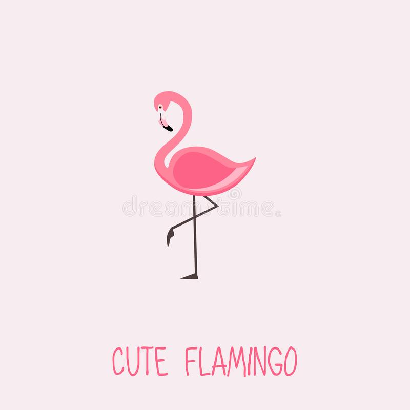 Cute Flamingo vector illustration with Pink Flamingo. lettering isolated illustration stock illustration