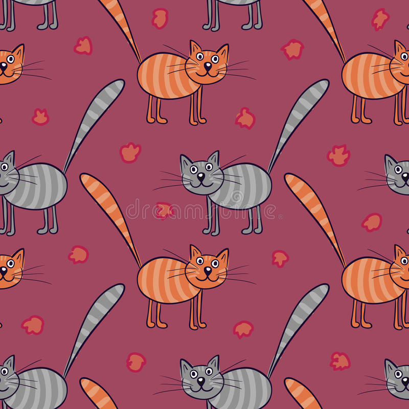 Cute flat cats. Vector seamless pattern with animals. stock illustration