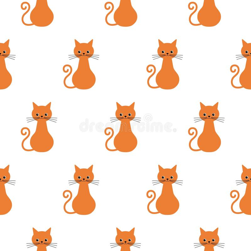 Cute flat cats. Vector seamless pattern with smile animals. Endless background with red cats stock illustration