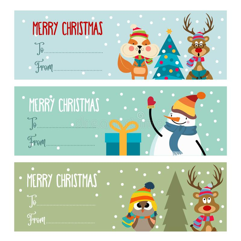 Cute flat design Christmas labels collection stock illustration