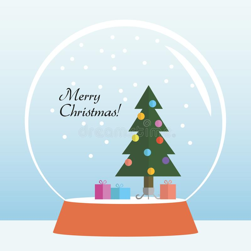 Cute flat design merry christmas greeting card with christmas tree and presents inside snowglobe vector illustration