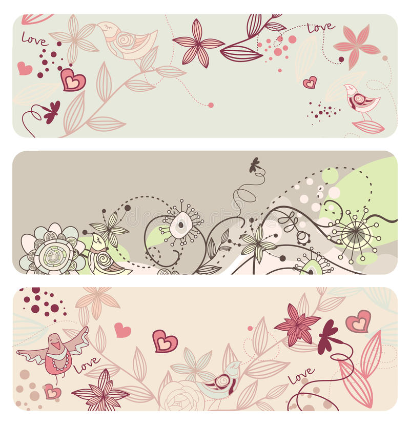 Cute floral banners royalty free illustration