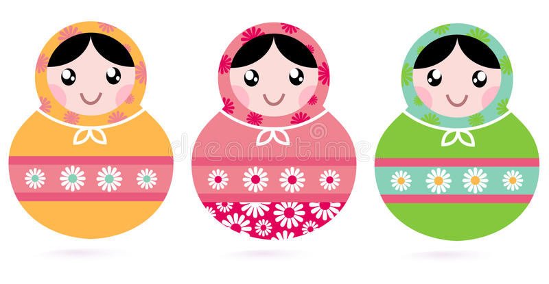 Download Cute Floral Colorful Matryoshka Set Stock Illustration - Illustration: 32616796
