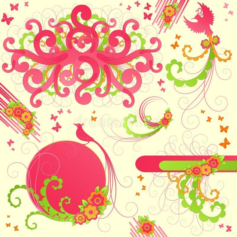Cute floral design elements stock photos