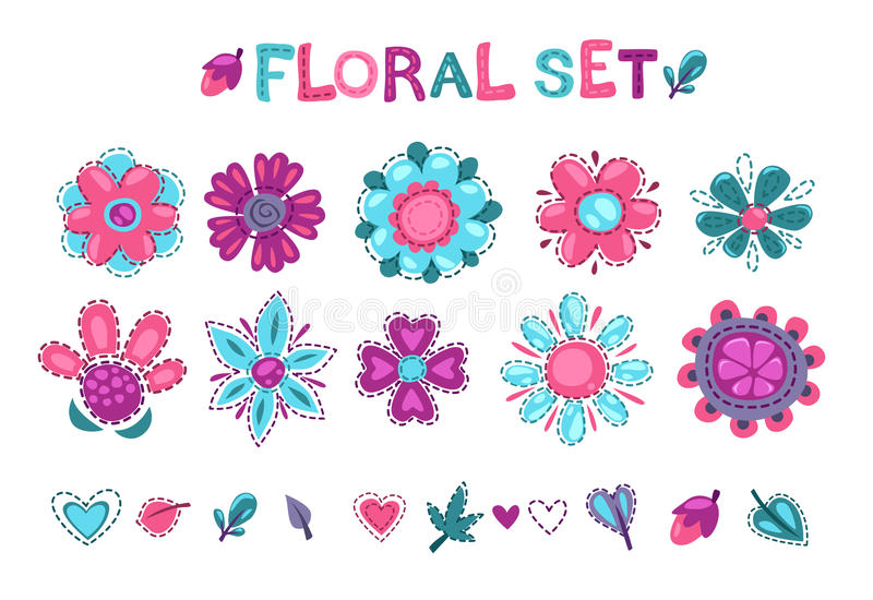 Cute floral elements set. Textile decor design elements om white background royalty free illustration
