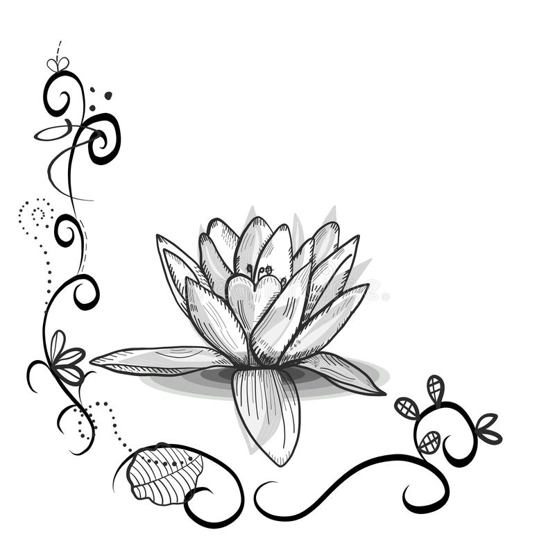 Cute floral frame with Lotus flower. Tattoo design. Black white flowers stock illustration
