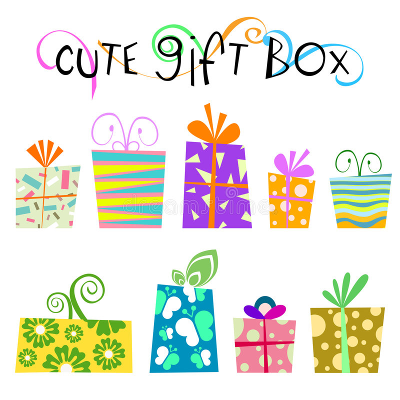 Cute floral gift box vector stock illustration