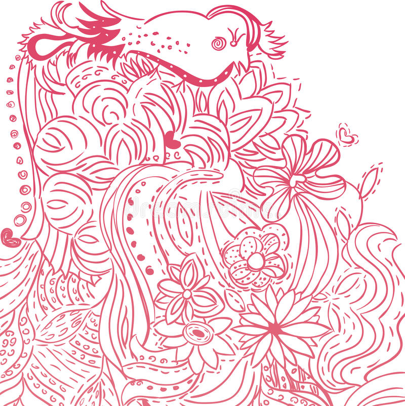 Download Cute Floral Handdrawn Card stock vector. Image of leaf - 10889425