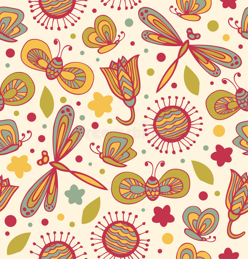Cute floral pattern with flowers, dragonflies and butterflies. Ornate fabric seamless texture royalty free illustration