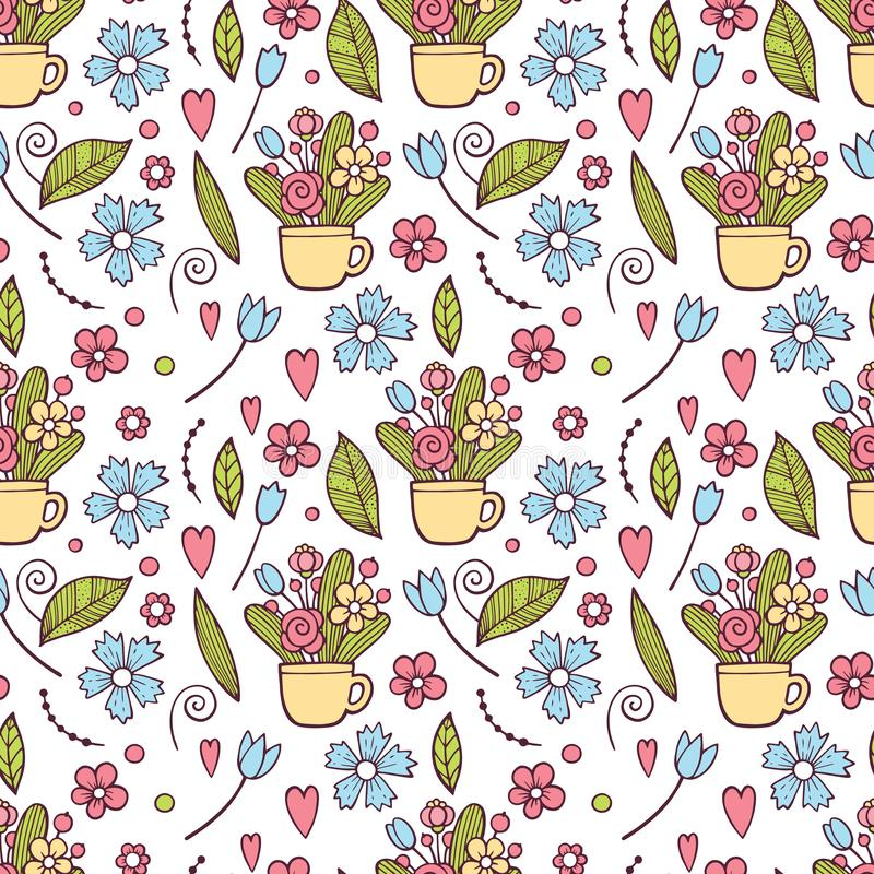 Cute Floral pattern in the small flower. Ditsy print . Motifs scattered random. Seamless vector texture. Elegant stock illustration