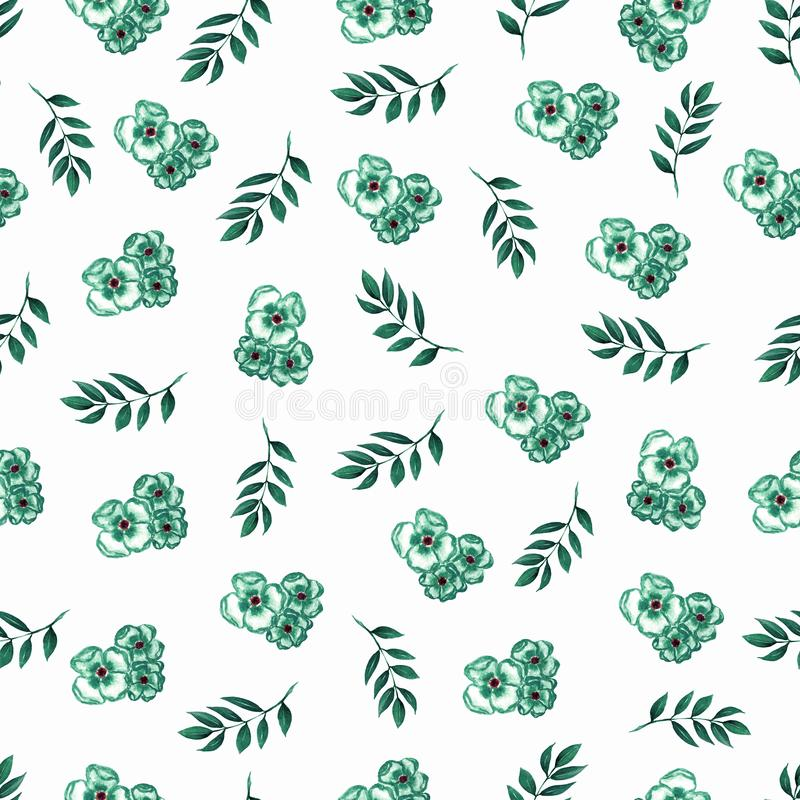 Cute Floral pattern of green small flowers and leaves. Seamless hand watercolor texture. Elegant template for fashion prints. stock illustration
