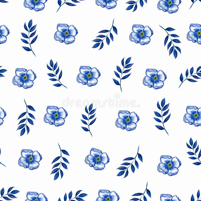 Cute Floral pattern of blue small flowers and leaves. Seamless hand watercolor texture. Elegant pattern for fashion prints. vector illustration