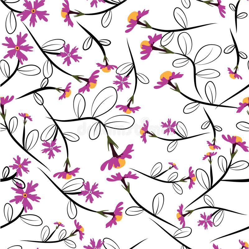 Cute Floral pattern in the small flower. Seamless vector pink background. Support wallpaper stock illustration