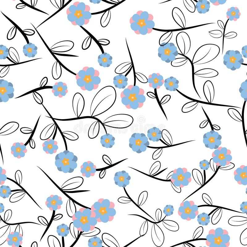 Cute Floral pattern in the small flower. Seamless vector pink background. Support wallpaper royalty free illustration