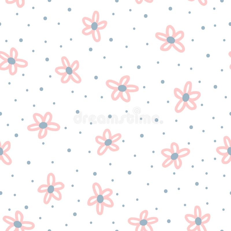 Cute floral seamless pattern for children. Repeated flowers drawn by hand with rough brush and polka dot. Sketch, doodle, grunge. Girly vector illustration stock illustration