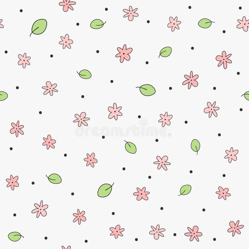 Cute floral seamless pattern. Feminine print with flowers, leaves and round dots. royalty free illustration