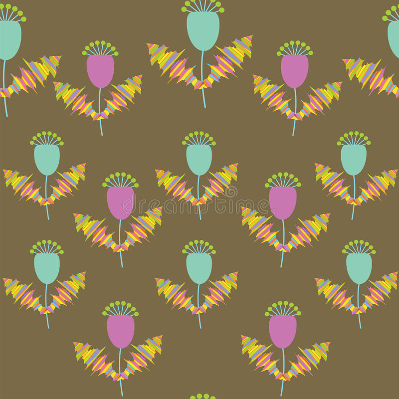 Cute  Floral Seamless Pattern, And Seamless Patter Royalty Free Stock Image