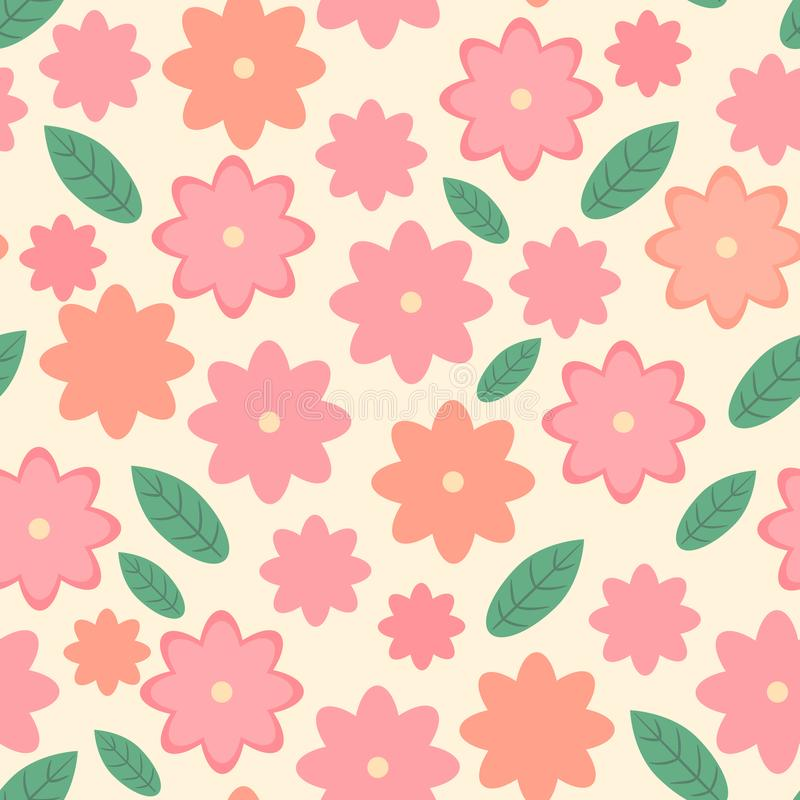 Cute floral seamless pattern, stunning spring vector endless design with pink flowers and green leaves royalty free illustration