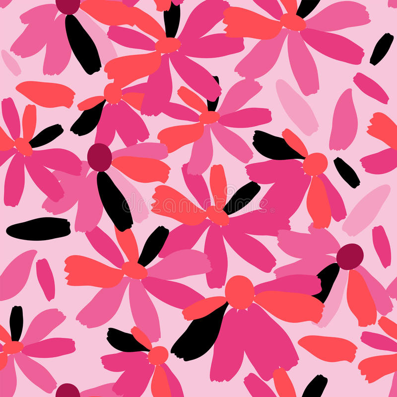 Cute floral seamless texture with pink flowers vector illustration