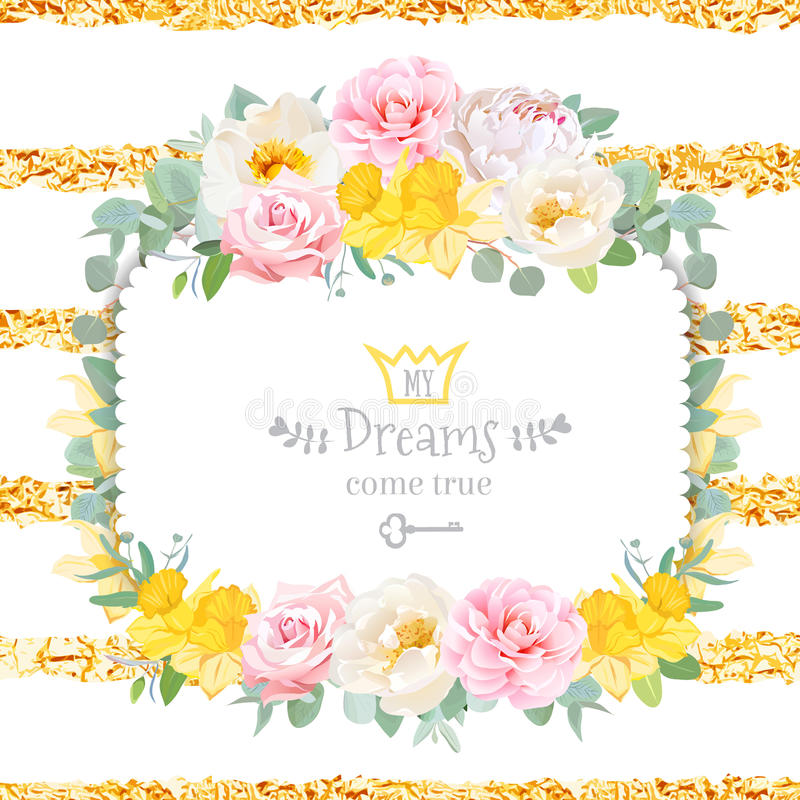 Cute floral square vector design frame with wild rose, narcissus. Camellia, peony, green eucaliptus. Pink, white and yellow flowers. Invitation card. Shining royalty free illustration