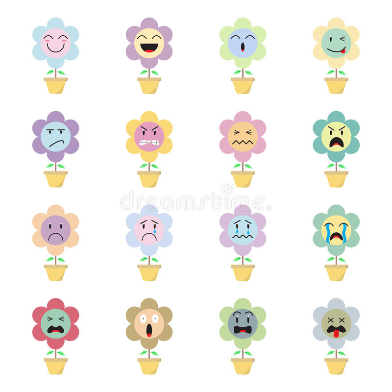 Cute Flower Emoji On White Background Stock Illustration