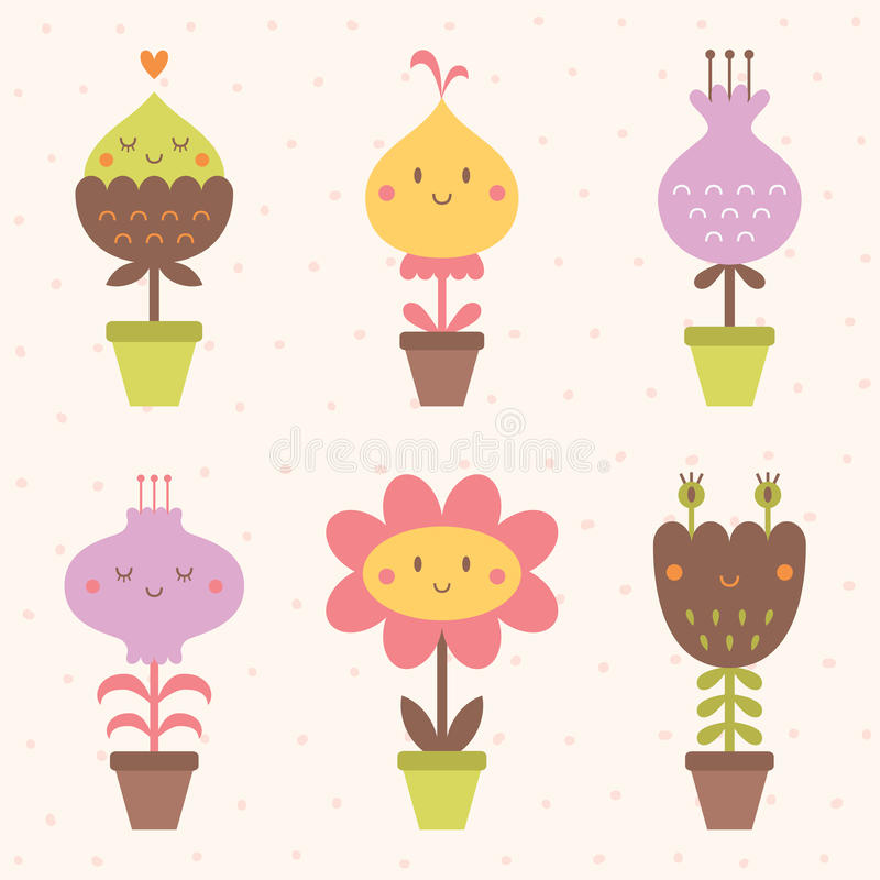 Cute flower icons set royalty free stock photography