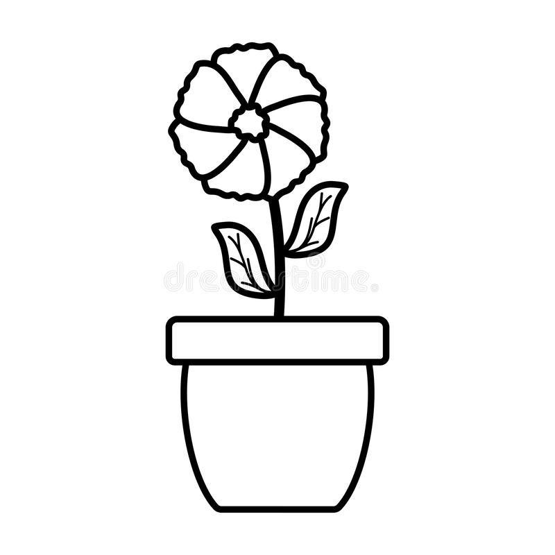 Cute flower and leafs plant in ceramic pot. Vector illustration design royalty free illustration