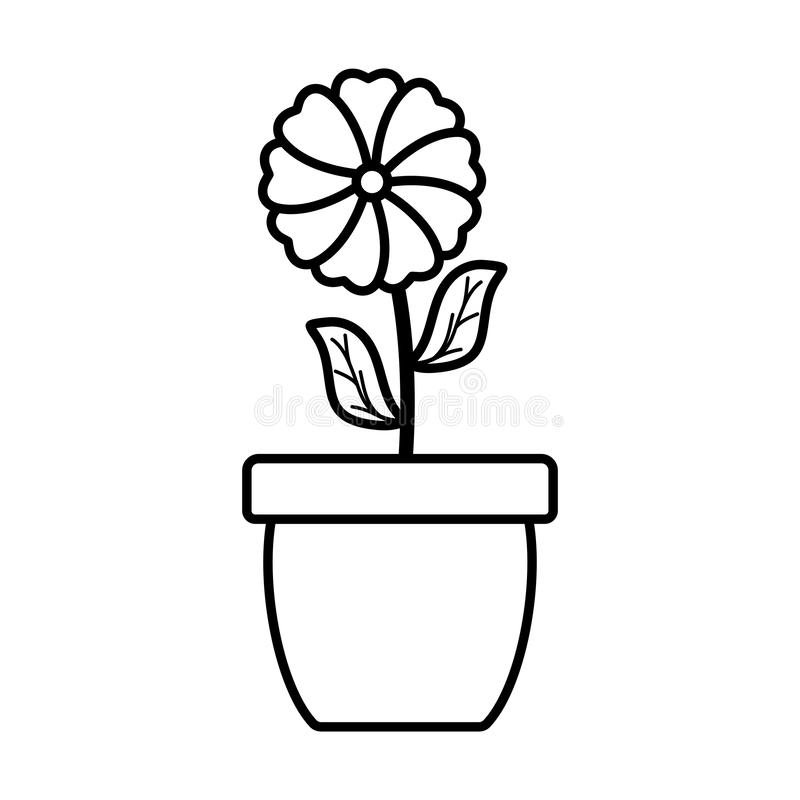 Cute flower and leafs plant in ceramic pot. Vector illustration design stock illustration