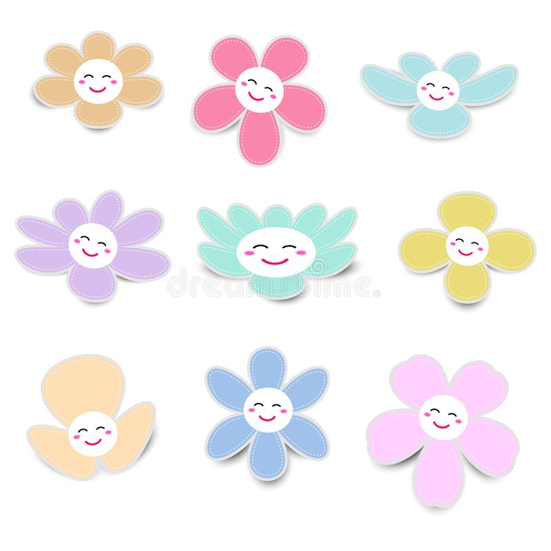 Cute flower paper with smiley face royalty free illustration