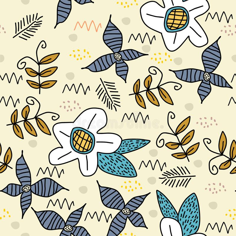 Cute flower seamless pattern with scandinavian art drawing background. Trendy elements for baby and children apparel fashion royalty free illustration