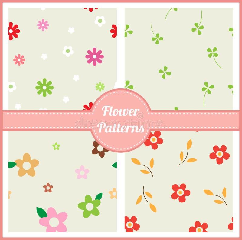 Cute flower seamless patterns stock illustration