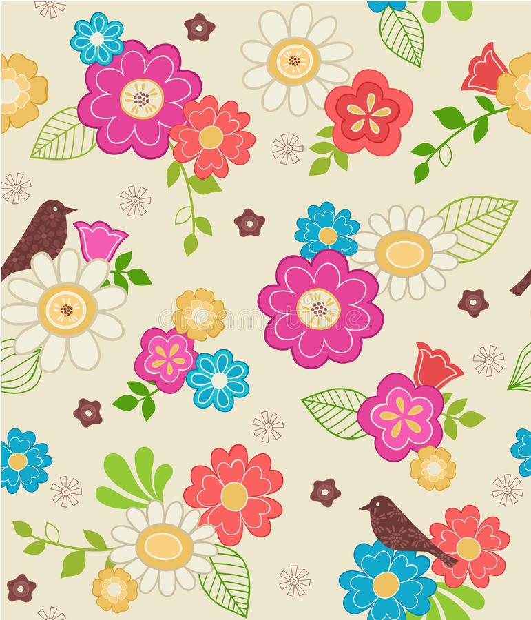 Cute Flowers and Bird Seamless Pattern vector illustration