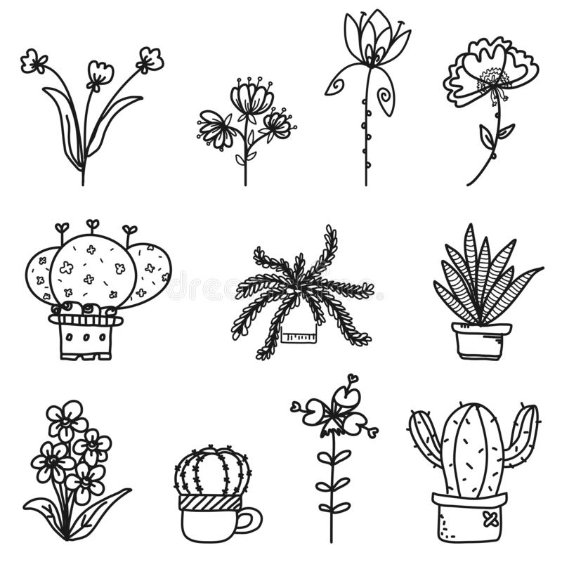 Cute flowers doodle collection set vector from freehand drawing on white background royalty free stock photos