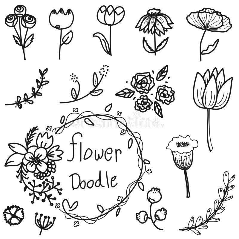Cute flowers doodle collection set vector from freehand drawing on white background royalty free stock photo