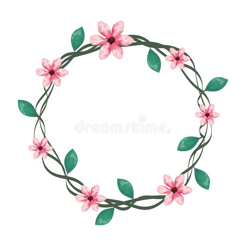 Cute flowers wreath crown. Vector illustration design royalty free illustration