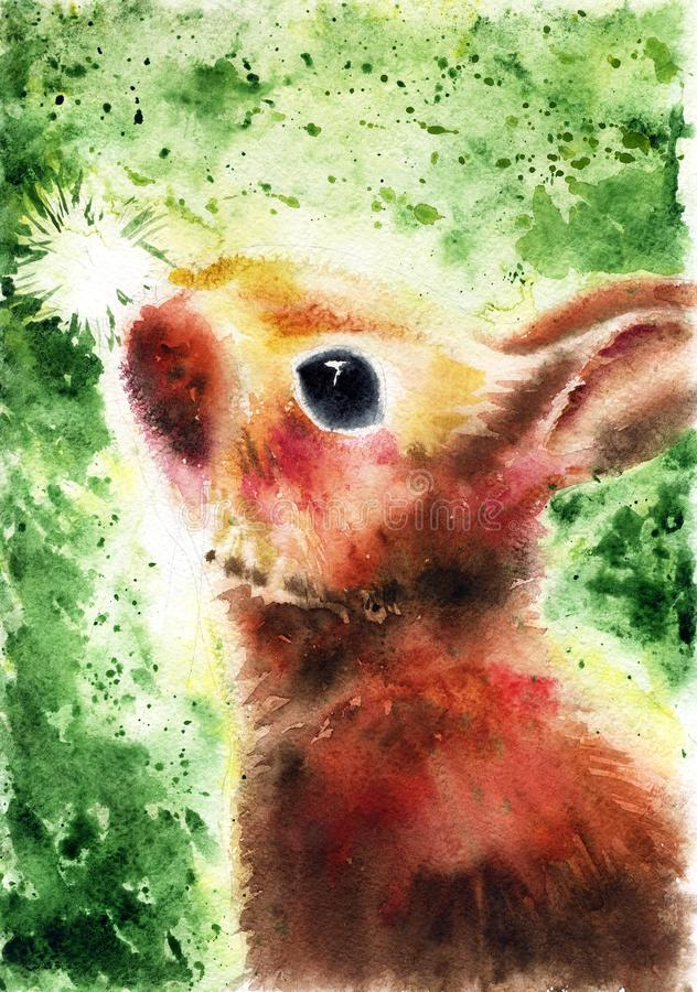 Cute fluffy brown bunny looks at a white dandelion on a green background, painted by hands with watercolor, poster, illustration, royalty free illustration
