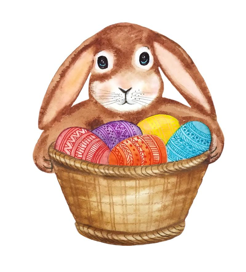 Cute Bunny with a basket of eggs royalty free illustration