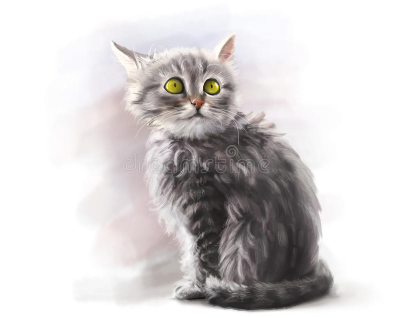 Cute fluffy pet kitten, digital paint royalty free stock image