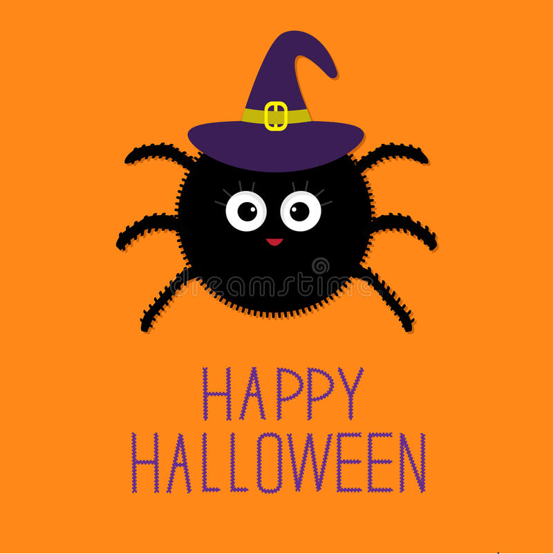 Download Cute Fluffy Spider In Witch Hat. Happy Halloween Card. Flat Design  Stock Vector