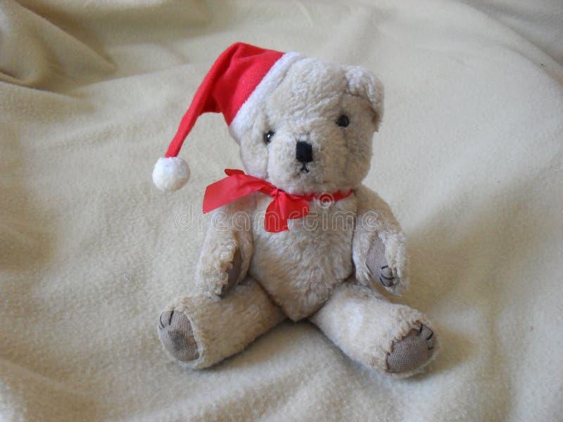 Cute fluffy white teddy bear stock photography