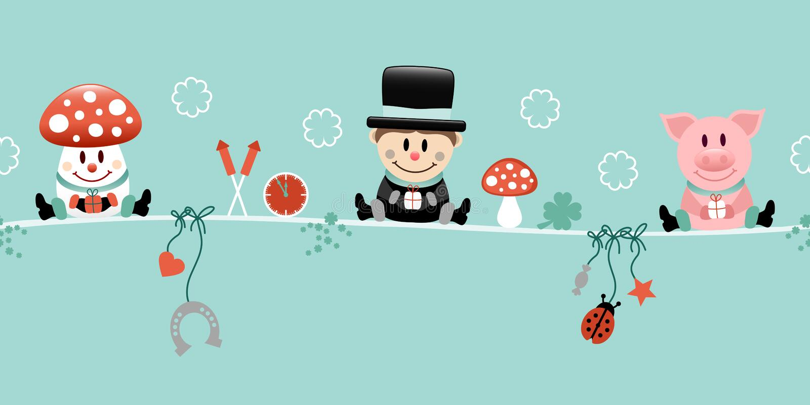 Fly Agaric Chimney Sweep And Pig Icons New Years Eve Turquoise. Cute Fly Agaric Chimney Sweep And Pig Icons New Years Eve Turquoise royalty free illustration