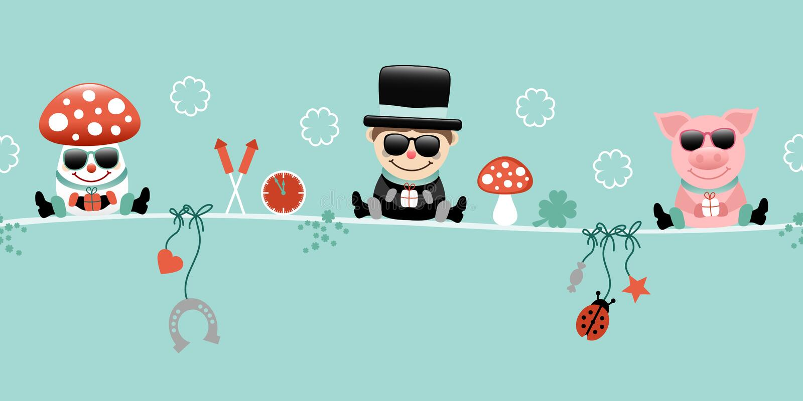 Fly Agaric Chimney Sweep And Pig With Sunglasses Icons New Years Eve Turquoise. Cute Fly Agaric Chimney Sweep And Pig With Sunglasses Icons New Years Eve stock illustration