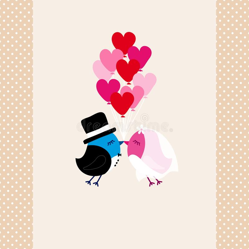 Flying Birds Wedding Kissing Holding Nine Heart Balloons Dots Border Beige vector illustration