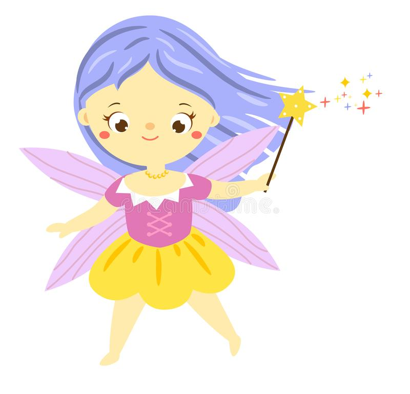 Cute fairy with magic wand. Garden elf, little pixie. Cute flying fairy with magic wand. Garden elf, little pixie. Fantasy character royalty free illustration