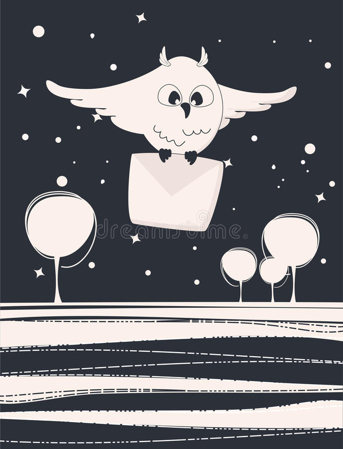 Cute flying owl with a letter. Flying owl in the night with a letter vector illustration