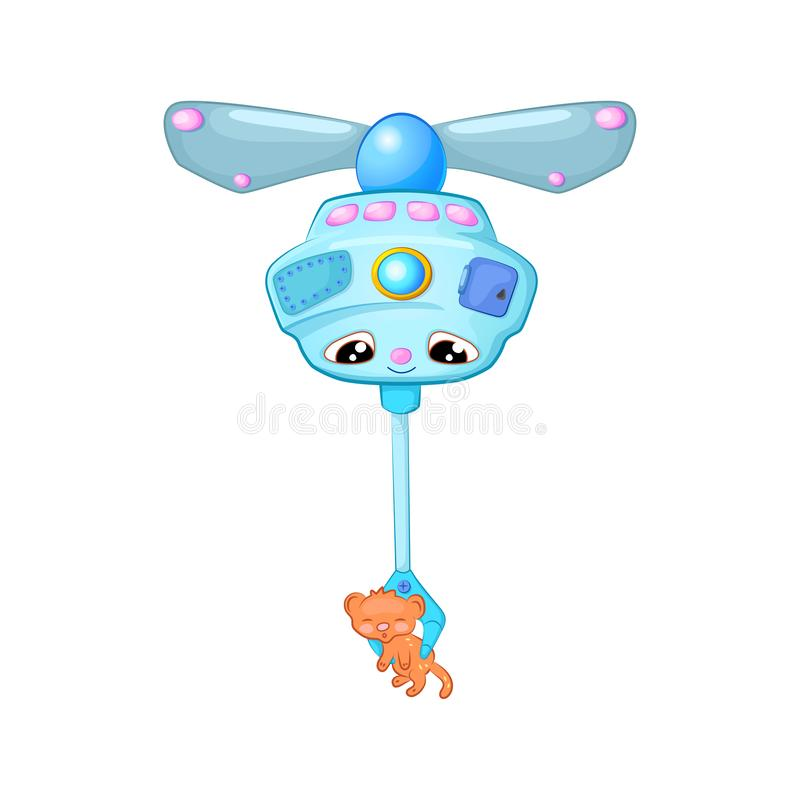 Cute flying robot carrying orange kitten, cartoon  illustration on white background. Alien or drone character stock illustration